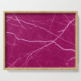 Magenta marble abstract texture pattern Serving Tray