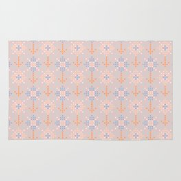 Pastel coral blue orange abstract cross stich pattern Rug