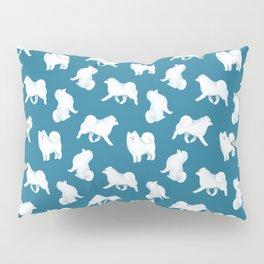 Samoyed Pattern (Blue Background) Pillow Sham