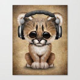 Cute Cougar Cub Dj Wearing Headphones Canvas Print