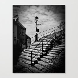 Whitby Abbey steps and lamppost Canvas Print