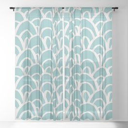 Hand Drawn Mermaid Scales Pattern - Turquoise Sheer Curtain