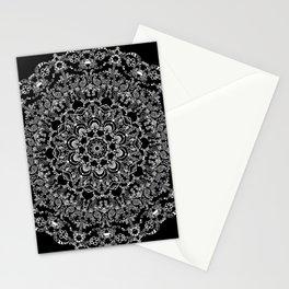 Mandala Project 212 | White Bohemian Lace on Black Stationery Cards
