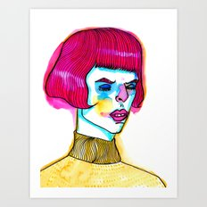 pink hair yellow sweater Art Print