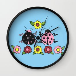 Ladybugs in Pink & Black Wall Clock