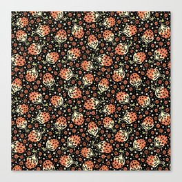 Wild Strawberry Field , Woodcut Style Fruit Pattern Illustration Red on Black Canvas Print