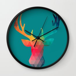 Rainbow Pixel Deer Wall Clock