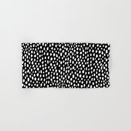 Handmade polka dot brush strokes (black and white reverse dalmatian) Hand & Bath Towel
