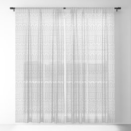 Mud Cloth on Light Gray Sheer Curtain