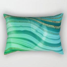 Ocean Blue And Green Mermaid Glamour Marble Rectangular Pillow