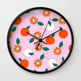 Fresh Orange Pattern on Rose Colored background  Wall Clock
