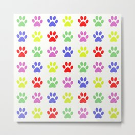 Pawprints Pattern I Metal Print