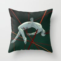 cyberpunk Throw Pillows featuring Dividendo Digital by Obvious Warrior