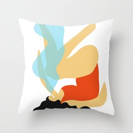 Girl Smoking Throw Pillow