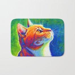Rainbow Cat Portrait Bath Mat