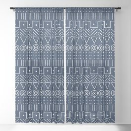 Mudcloth Style 1 in Navy Sheer Curtain