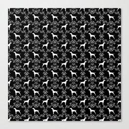 Vizsla dog breed minimal pattern floral black and white pastel dog gifts vizlas breed Canvas Print