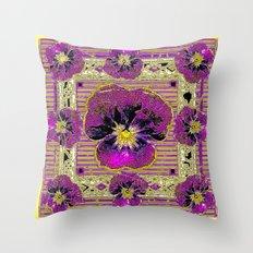 Purple & Yellow Pansy Graphic Art Design Throw Pillow