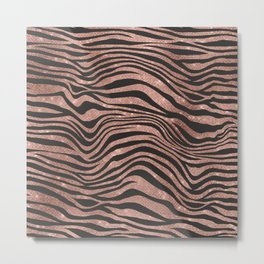 Rose Gold & Black Animal Stripes Metal Print