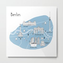 Mapping Berlin - Blue Metal Print