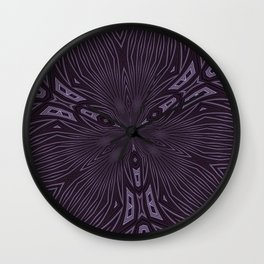 Pale Aubergine and Eggplant Abstract Pattern Kaleidescope Wall Clock