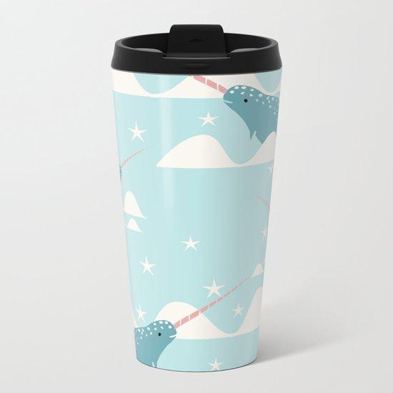 narwhal in ocean Metal Travel Mug