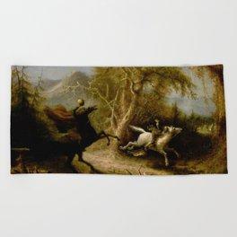 John Quidor Legend of Sleepy Hollow Headless Horseman Pursuing Ichabod Crane 1858 Beach Towel