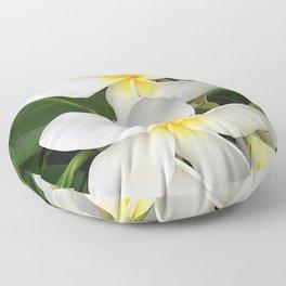 Angel Bright Tropical Plumeria Flowers Floor Pillow