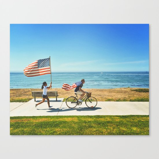 America flag bicycle Canvas Print
