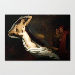 Dante and Virgil Encountering the Shades of Francesca de Rimini and Paolo in the Underworld Canvas Print
