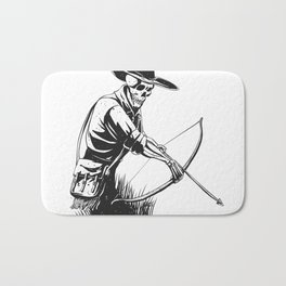 Cowboy skeleton with crossbow - black and white - gothic skull cartoon - ghost silhouette Bath Mat