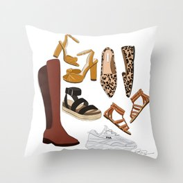 shoe collection Throw Pillow