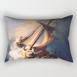The Storm On The Sea Of Galilee Painting By Rembrandt Rectangular Pillow
