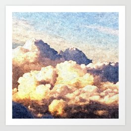 Fluffy Clouds Aerial Skyscape Painting Art Print
