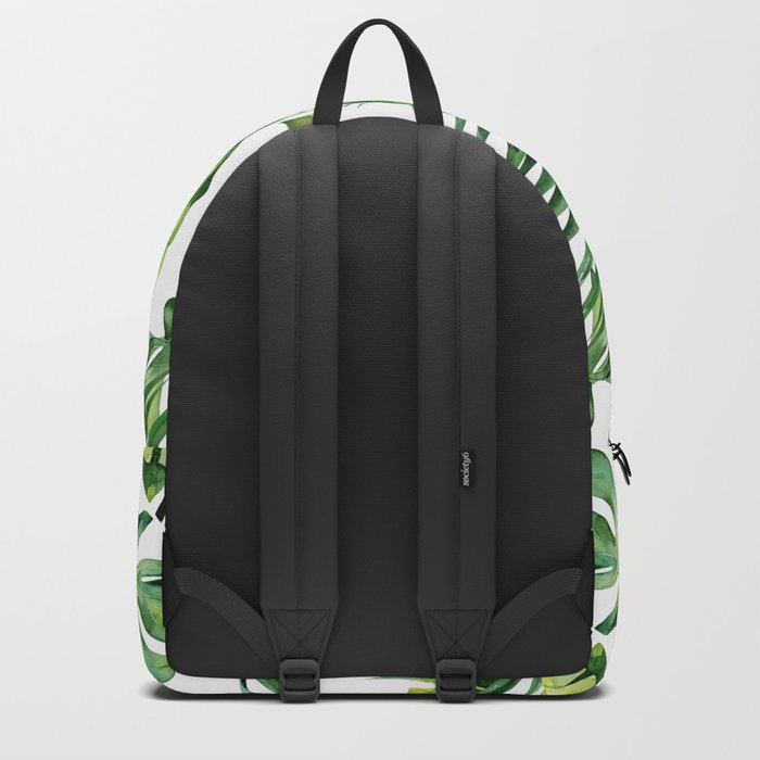 Tropical Island Plants on White Backpack