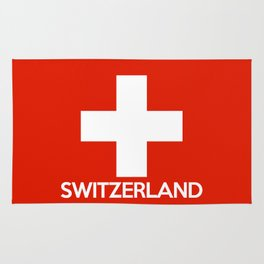 Switzerland country flag name text swiss Rug