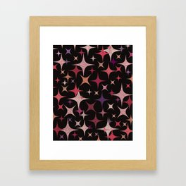 Shimmering Purple, Red, Pink and White Stars Framed Art Print