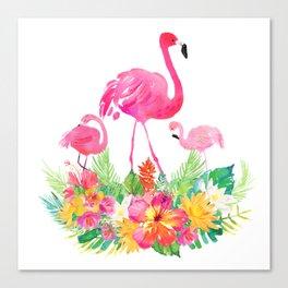 Pink flamingos & tropical flowers Canvas Print