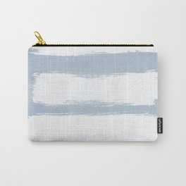 Modern white blue pastel brushstrokes stripes Carry-All Pouch