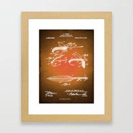 Fly Fishing Bait Patent Blueprint Drawing Sepia Framed Art Print