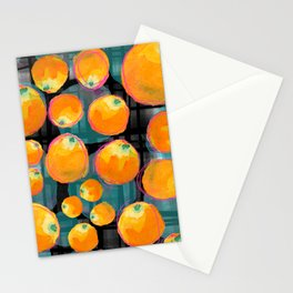 Orange Citrus Watercolor Pattern Stationery Cards