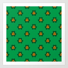 Saint Patrick Irish Clove Seamless Pattern Art Print
