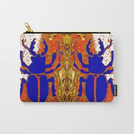 Lapis Blue Beetle on Gold Carry-All Pouch
