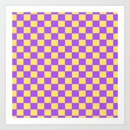 Checkers - Purple and Yellow Art Print