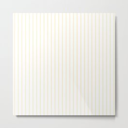 Gardenia Cream Pinstripe on White Metal Print