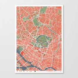 Tokyo city map classic Canvas Print