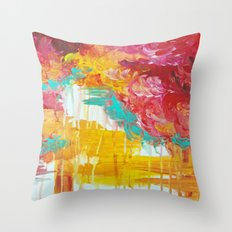 AUTUMN SKIES - Amazing Fall Colors Thunder Storm Rainy Sky Clouds Bold Colorful Abstract Painting Throw Pillow