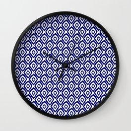 Ikat blue indigo painting modern abstract pattern print ink splash painterly brushstrokes classic  Wall Clock