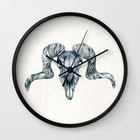ram Wall Clocks featuring Ram by Adrianna Grężak