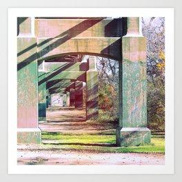 Under the bridge! Art Print